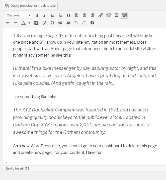 Izdelava spletnih strani - WordPress urejevalnik vsebin