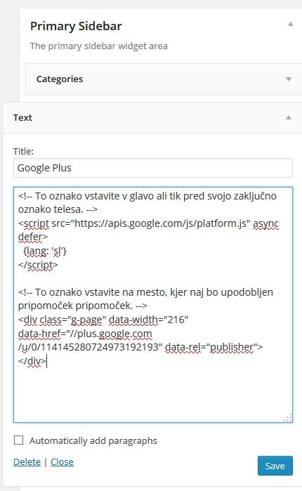 Kreiranje novega tekstovnega gradnika, kamor prilepimo kodo za Google+ Badge