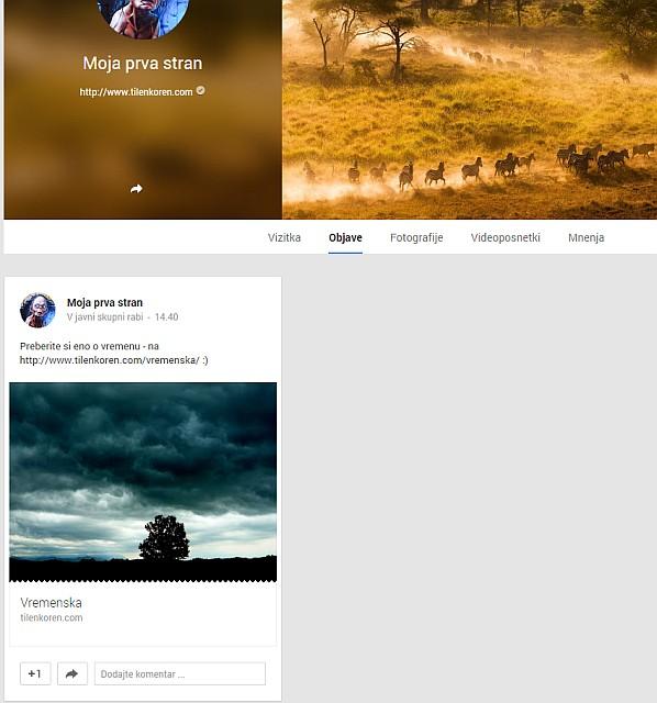 Kako je videti objava na vaši Google Plus strani