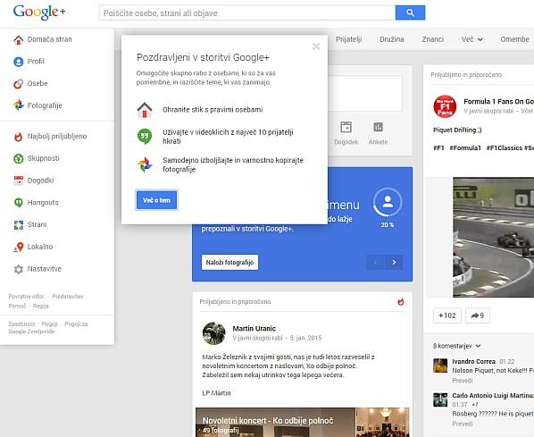 Dobrodošli v Google Plus