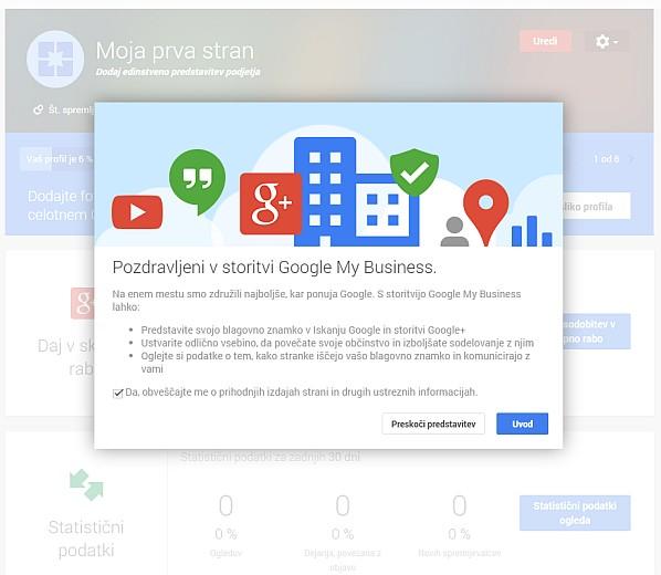 Pozdravno sporočilo ob odprtju nove Google Plus strani