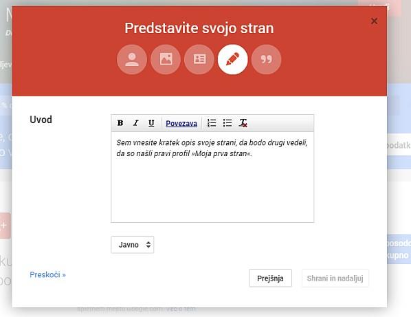 4. korak - Kratek opis vaše strani / vaših izdelkov / vaših storitev za Google+ obiskovalce