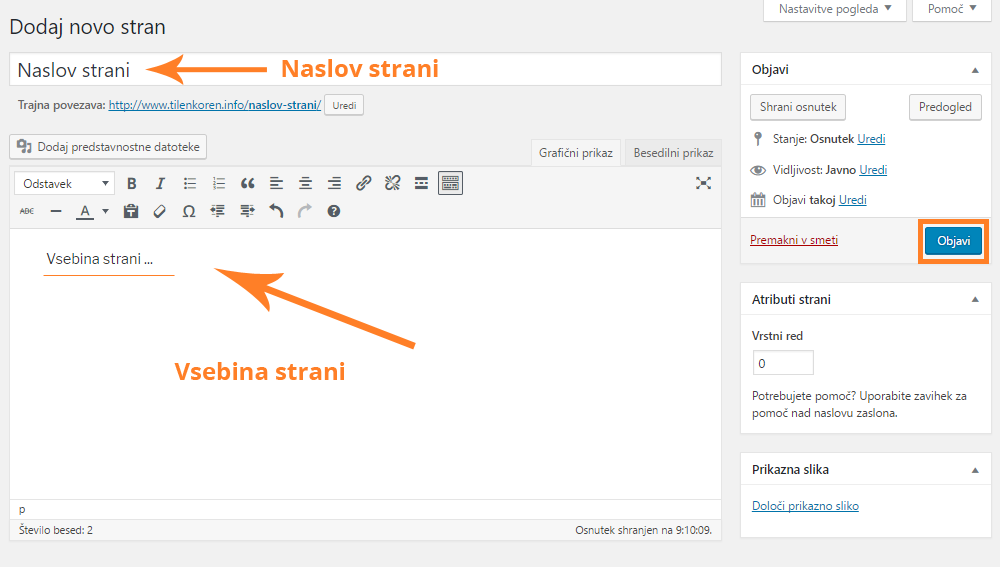 Izdelava spletnih strani - Dodajanje statične strani
